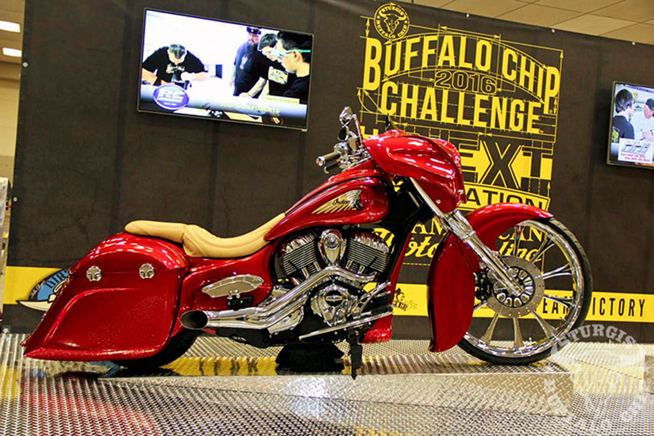 Buffalo Chip Challenge Team Indian Raked The Neck On This Custom Bagger To 37o Fit Its 26 Wheel Using A KewlMetal Inc Bolt Kit