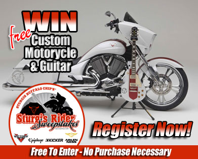 Enter to win a customized Victory motorcycle and matching Epiphone guitar in the Sturgis Rider Sweepstakes