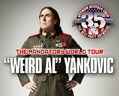"""Weird Al"" Yankovic gets weird at the Largest Music Festival in Motorcycling on Aug. 13, 2016."