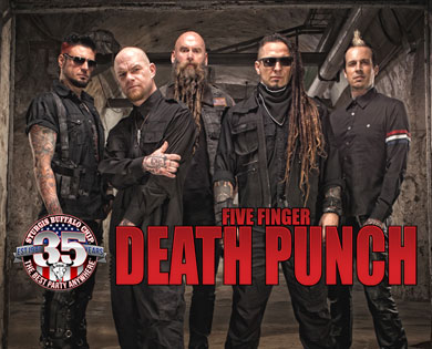Five Finger Death Punch will flying elbow drop the Chip's August Music Festival Aug. 10, 2016.