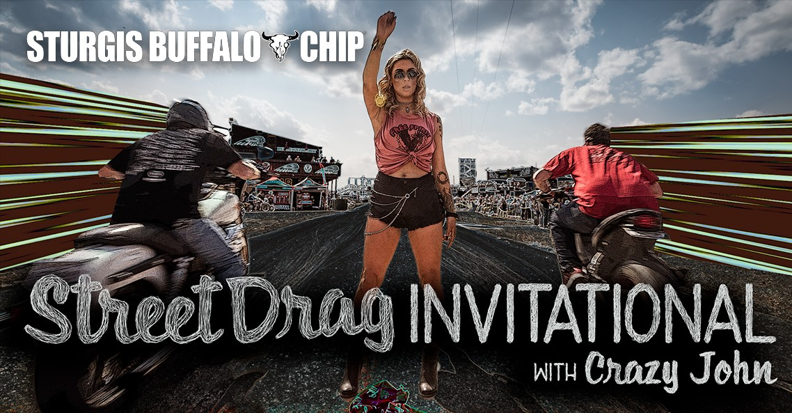 The Buffalo Chip Street Drag Invitational with Crazy John is old school motorcycle drag racing at it's finest.