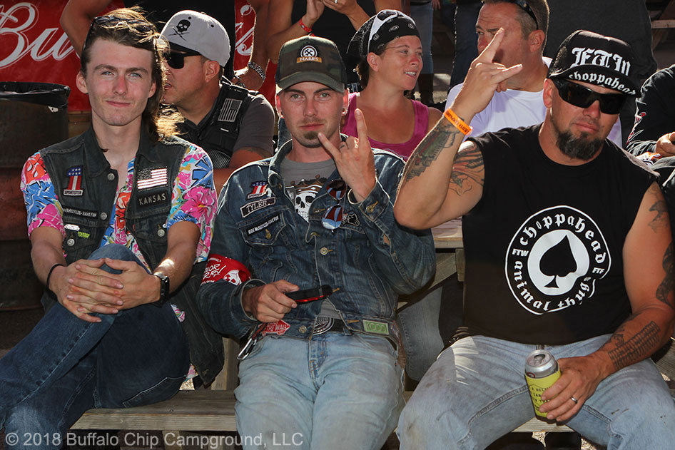 Carey Hart serves drinks at Big Engine Bar at the Sturgis Buffalo Chip CrossRoads
