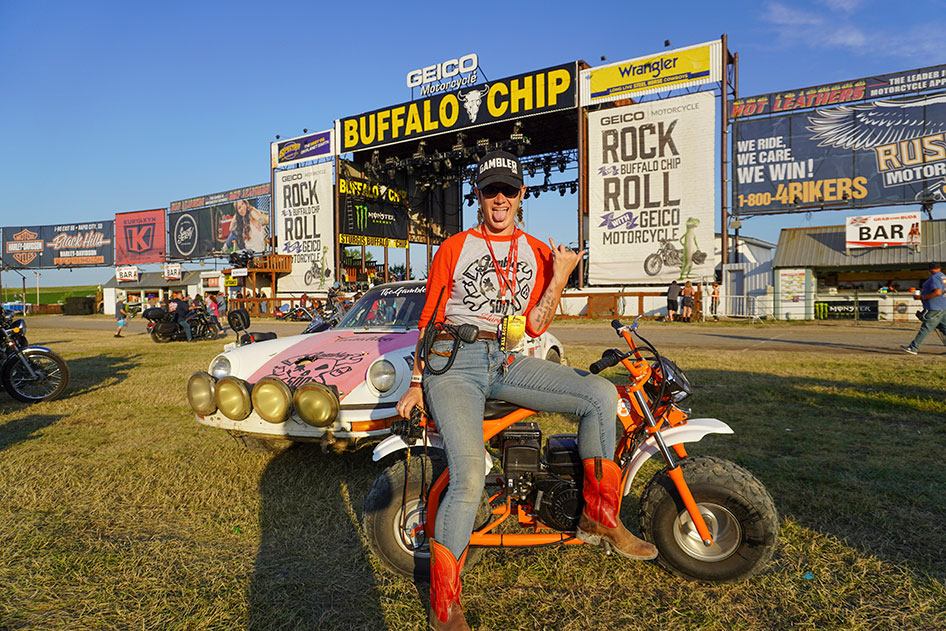 Moto Lady Alicia Elfving in the Sturgis Buffalo Chip Amphitheater