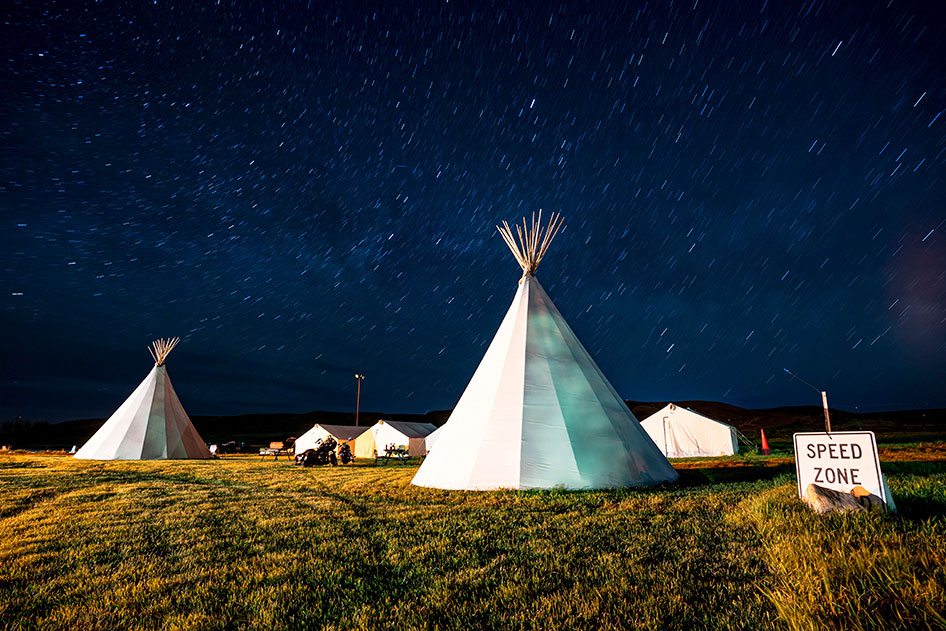 Authentic tipi camping during the Sturgis Motorcycle Rally.