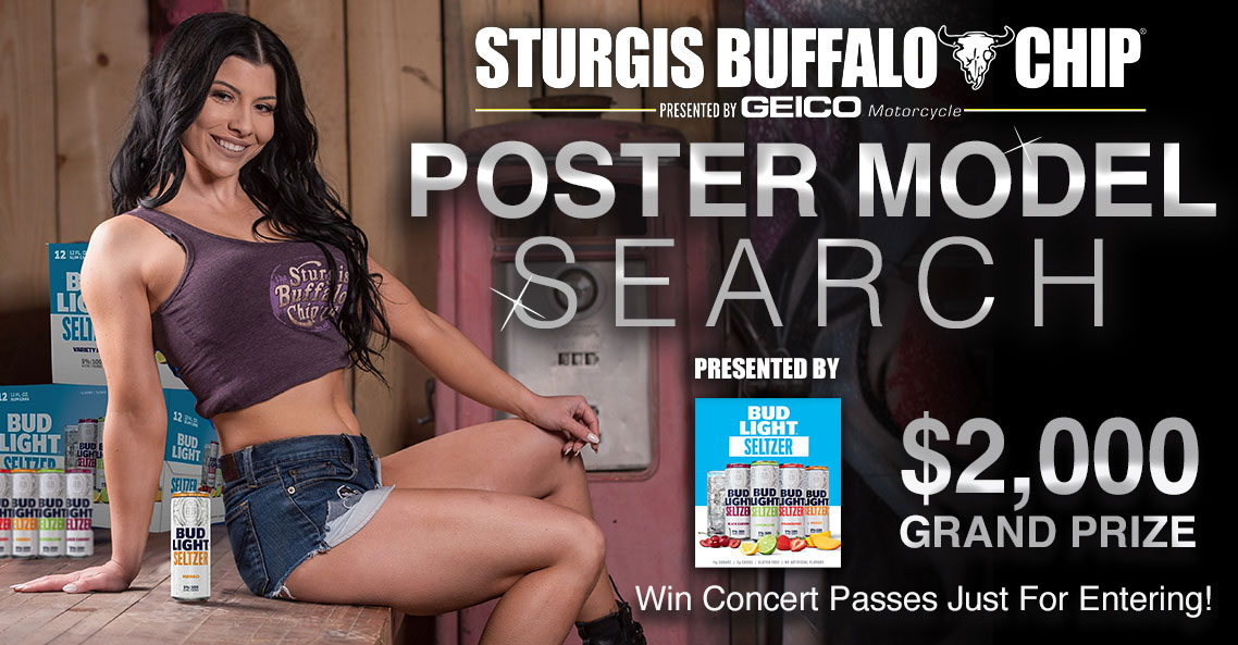 Biker babes compete in model search to be the face of the premier festival during the Sturgis Rally